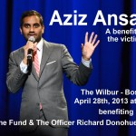 Aziz Ansari performing at The Wilbur in Boston on Sunday to benefit The One Fund and The Officer Richard Donohue Fund