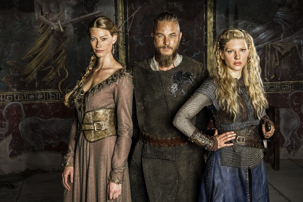 L to R_ Princess Aslaug (Alyssa Sutherland), Ragnar Lothbrok (Travis Fimmel) and Lagertha (Katheryn Winnick)