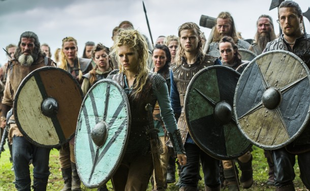 Lagertha (played by Katheryn Winnick), Erlendur, (Edvin Endre), and Kalf (Ben Robson)