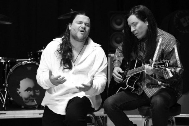 "THE TONIGHT SHOW STARRING JIMMY FALLON -- Episode 0255 -- Pictured: (l-r) Musician Jack Black and host Jimmy Fallon during the ""More Than Words"" music video skit on May 4, 2015 -- (Photo by: Douglas Gorenstein/NBC)"