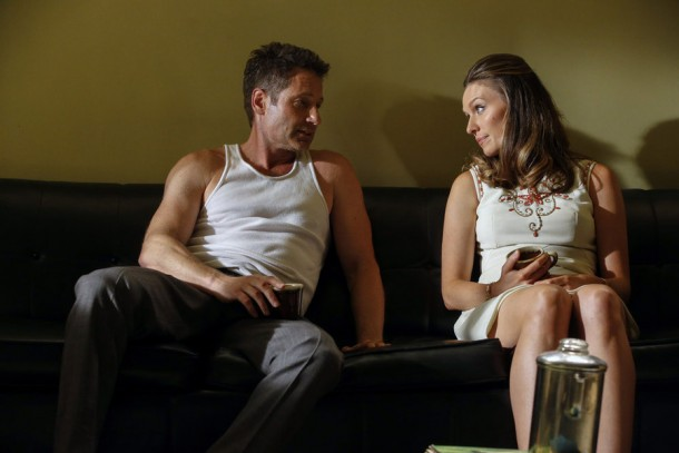 "AQUARIUS -- ""A Whiter Shade of Pale"" Episode 106 -- Pictured: (l-r) David Duchovny as Sam Hodiak, Michaela McManus as Grace Karn -- Photo by: (Vivian Zink/NBC)"