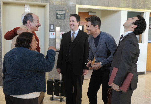 THE GRINDER:  Guest star Tonita Castro, guest star Juan Carlos Cantu, guest star Steve Little, Rob Lowe and Fred Savage in the series premiere episode of THE GRINDER airing Tuesday, Sept. 29 (8:30-9:00 PM ET/PT) on FOX.  ©2015 Fox Broadcasting Co.  Cr:  Ray Mickshaw/FOX.