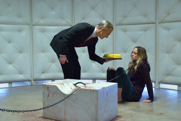 "THE STRAIN -- ""Dead End"" -- Episode 211 (Airs September 20, 10:00 pm e/p) Pictured: (l-r) Richard Sammel as Thomas Eichhorst, Ruta Gedmintas as Dutch Velders. CR: Michael Gibson/FX"