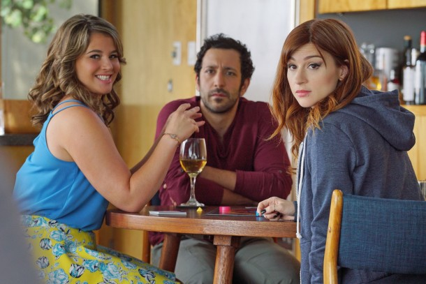 """YOU'RE THE WORST -- """"Crevasses"""" -- Episode 202 (Airs Wednesday, September 16, 10:30 pm e/p Pictured: (l-r) Kether Donohue as Lindsay, Desmin Borges as Edgar, Aya Cash as Gretchen. CR: Byron Cohen/FX"""