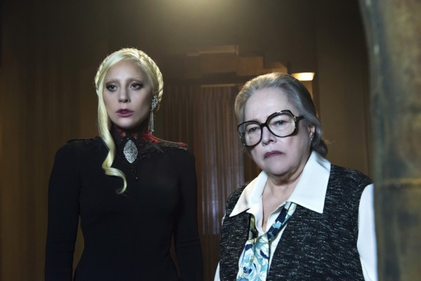 "AMERICAN HORROR STORY -- ""Flicker"" Episode 507 (Airs Wednesday, November 18, 10:00 pm/ep) Pictured: (l-r) Lady Gaga as The Countess, Kathy Bates as Iris. CR: Prashant Gupta/FX"