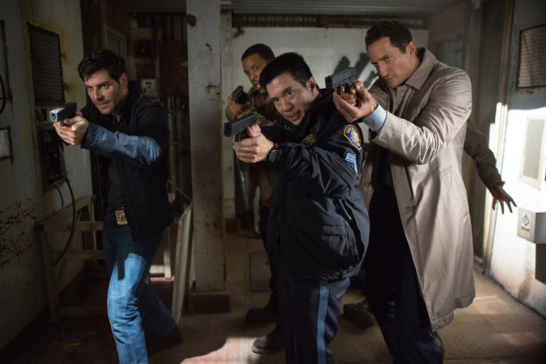 "GRIMM -- ""Wesen Nacht"" Episode 506 -- Pictured: (l-r) David Giuntoli as Nick Burkhardt, Reggie Lee as Sgt. Wu, Sasha Roiz as Captain Renard -- (Photo by: Scott Green/NBC)"