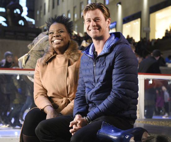 "SATURDAY NIGHT LIVE -- ""Chris Hemsworth"" Episode 1691 -- Pictured: (l-r) Leslie Jones and Chris Hemsworth on December 8, 2015 -- (Photo by: Dana Edelson/NBC)"