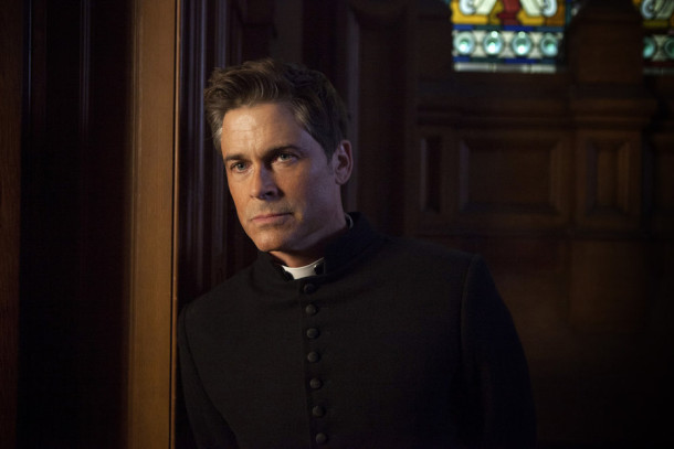 "YOU, ME AND THE APOCALYPSE -- ""Who Are These People?"" Episode 101 -- Pictured: Rob Lowe as Father Jude Sutton -- (Photo by: Ed Miller/WTTV Productions Limited)"