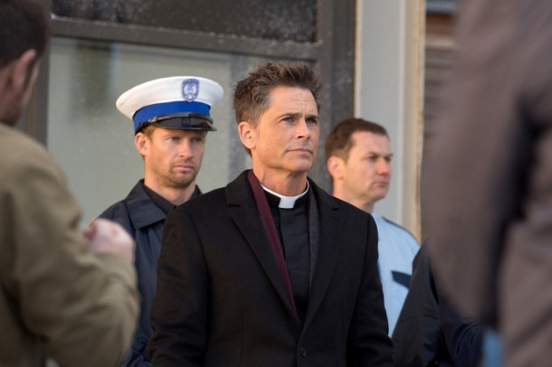 "YOU, ME AND THE APOCALYPSE -- ""Still Stuff Worth Fighting For"" Episode 103 -- Pictured: Rob Lowe as Father Jude Sutton -- (Photo by: Ed Miller/WTTV Productions Limited)"