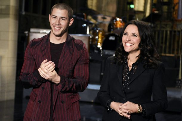"SATURDAY NIGHT LIVE -- ""Julia Louis-Dreyfus"" Episode 1701 -- Pictured: (l-r) Musical guest Nick Jonas and host Julia Louis-Dreyfus on April 14, 2016 -- (Photo by: Dana Edelson/NBC)"