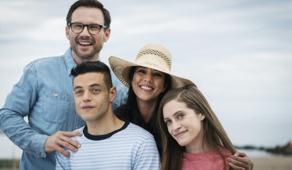 "MR. ROBOT -- ""eps2.4_m4ster%u2010s1ave.aes"" Episode 206 -- Pictured: (l-r) Christian Slater as Mr. Robot, Rami Malek as Elliot Alderson, Vaishnavi Sharma as Elliot's Mother, Carly Chaikin as Darlene -- (Photo by: Michael Parmelee/USA Network)"